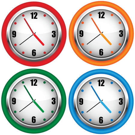 Multi-coloured wall clock.  Vector
