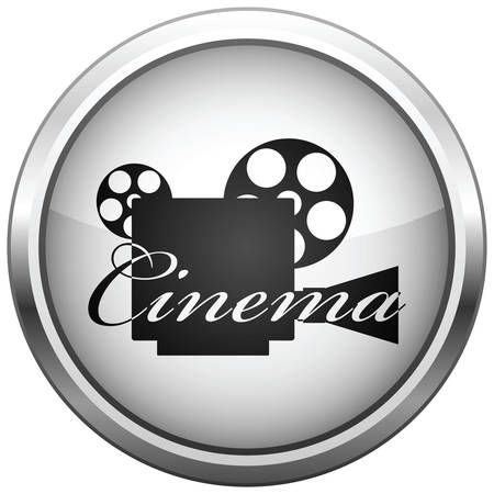 multimedia pictogram: icon (button). The Video camera silhouette.  Illustration