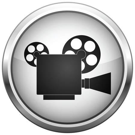 movie sign: icono (bot�n). La silueta de la c�mara de v�deo.