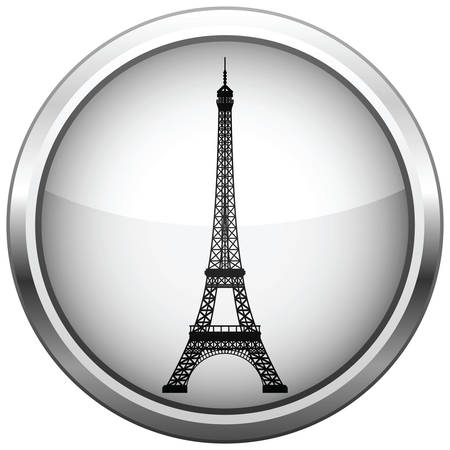 icon (button). Silhouette Eiffel Tower.