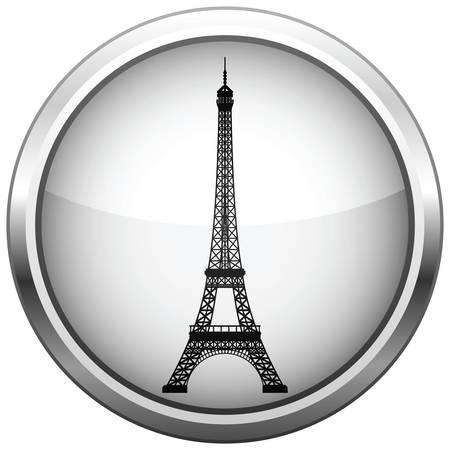 Icon (Schaltfl�che). Silhouette Eiffelturm.  Illustration