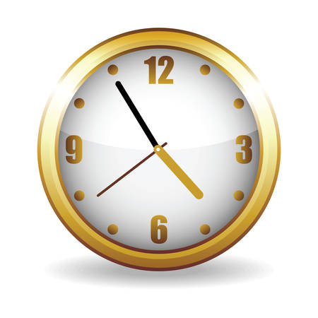 Golden clock on a white background, (vector illustration). Vector