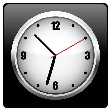 12 o'clock: Office clock.  illustration. It is isolated on a white background.