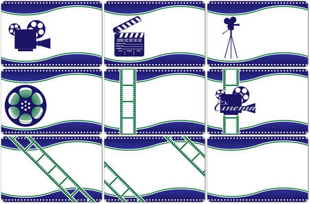 Collection horizontal business cards. Video the industry.illustration.