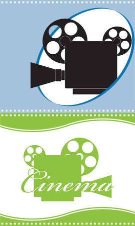 slate film: Cinema. Two backgrounds with video cameras.