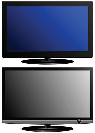 New wide-screen TV set in elegant glass design isolated on white background. Two TVs at the price of one. Vector
