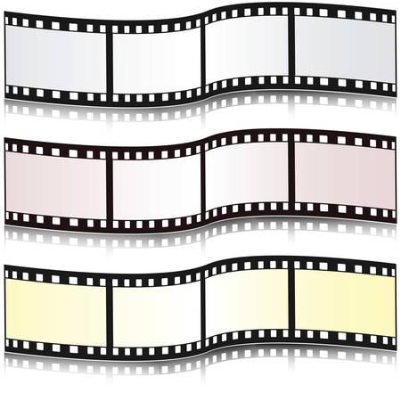 Satz von Filmstreifen mit Reflektion. Abbildung.  Illustration