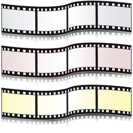 Set of filmstrips with reflection. illustration. Illustration