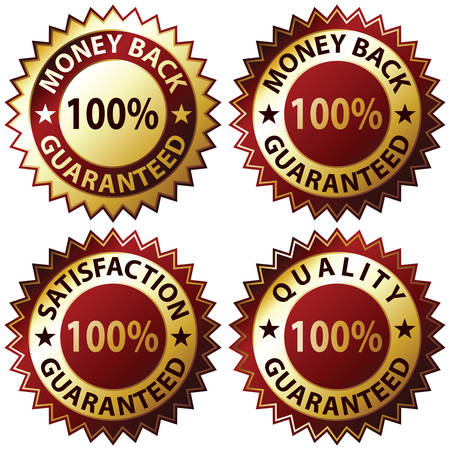 Money Back Guaranteed and 100% Satisfaction Guaranteed Sign Set Stock Vector - 6869991