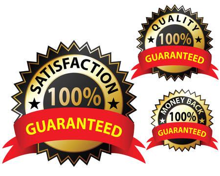 Money Back Guaranteed and 100% Satisfaction Guaranteed Sign Set Vector