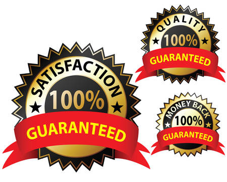 seal of approval: Money Back Guaranteed and 100% Satisfaction Guaranteed Sign Set