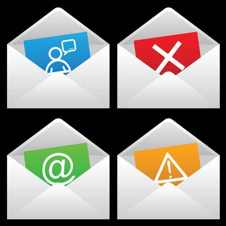 filing tray: White Mail Envelopes, Black background, illustration.