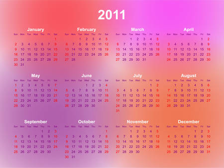 2011 calendar with a colorful abstract background Vector
