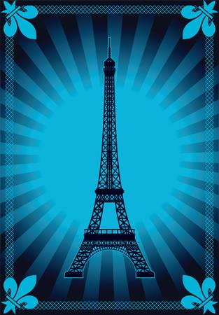 foreground: Eiffel tower illustration Illustration