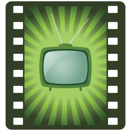 cable tv: green retro tv Illustration