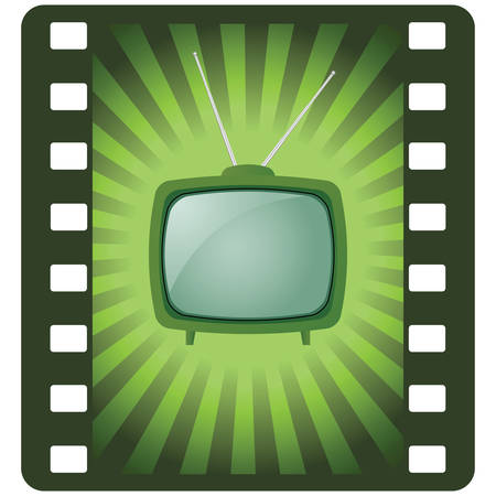 tv retro: green retro tv Illustration