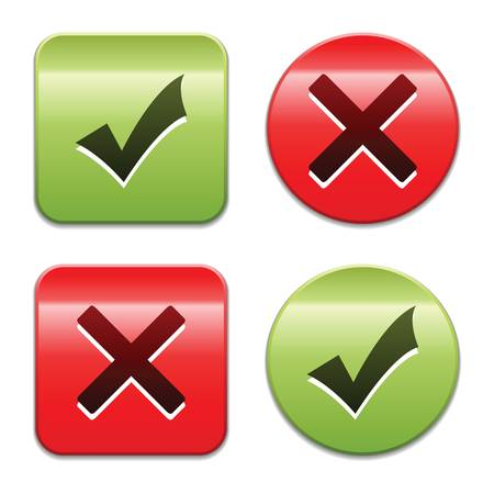 yes no: Check mark buttons. Vector illustration. Illustration