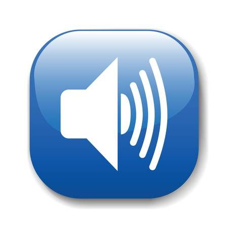 music loudspeaker: The dark blue button for a site web. A vector illustration, it is easy to edit and change.