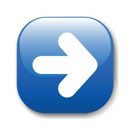 flecha derecha: El botón azul oscuro para un sitio web. Una ilustración vectorial, es fácil de editar y cambiar.