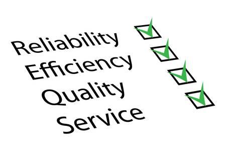 Zuverlässigkeit, Effizienz, Qualität, Service