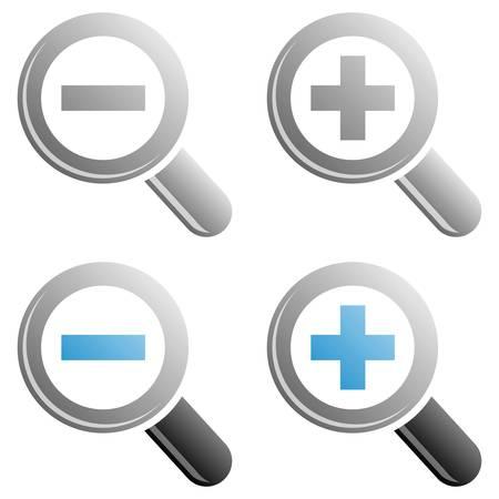 scrutiny: Iconos de zoom Vectores