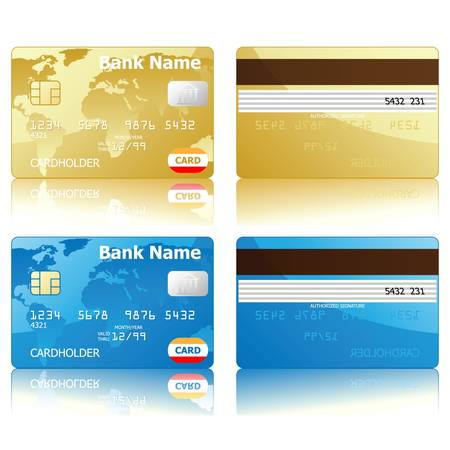 back view: credit cards, front and back view