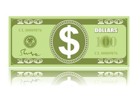 bank bill: dollar with reflection on white background, vector EPS 8