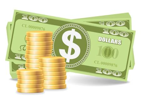 Pile of coins with dollars Stock Vector - 17307600