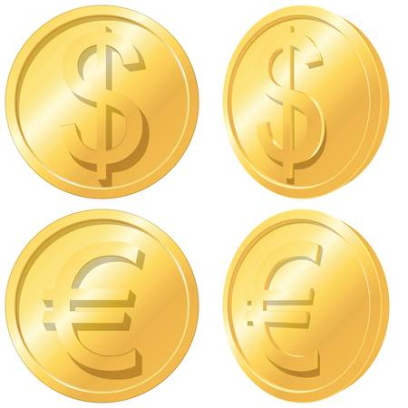 Gold coins  Euro and dollar  Vector EPS 8  Vector
