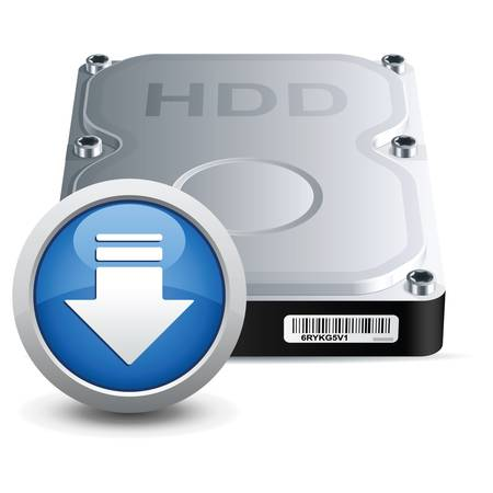 Vector hard disk drive icon with download sign Ilustracja