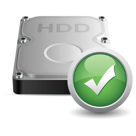 sata: Vector hard disk drive icon with OK sign