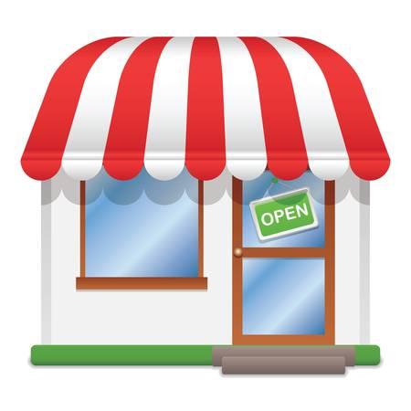 tiendas de comida: tienda icono ilustración vectorial