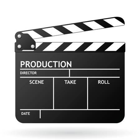 Clapper board on white background, vector EPS 8  イラスト・ベクター素材