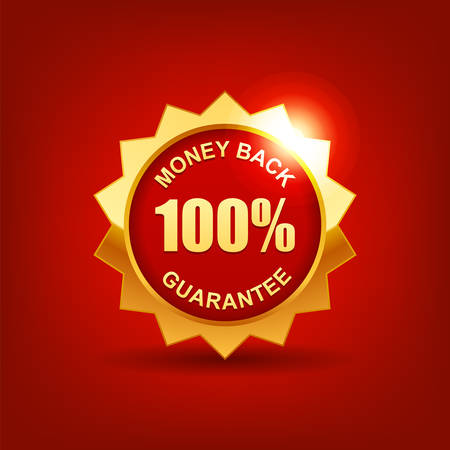 Money Back Guaranteed Label with Gold Badge Sign Vector