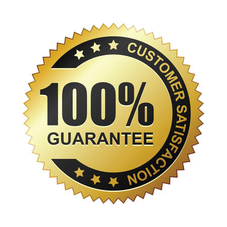 Customer satisfaction guaranteed gold badge 版權商用圖片 - 23119830