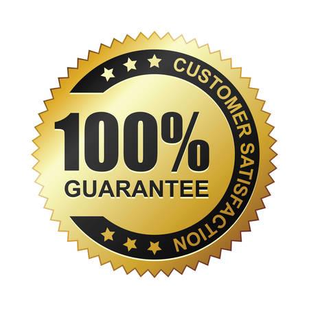 La soddisfazione del cliente garantita distintivo d'oro Vettoriali