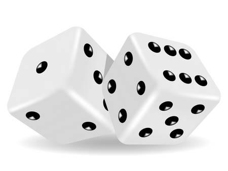 Vektor-Illustration von zwei weiße Würfel Standard-Bild - 26618942
