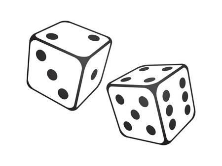 Ilustración del vector de los dados en el fondo blanco