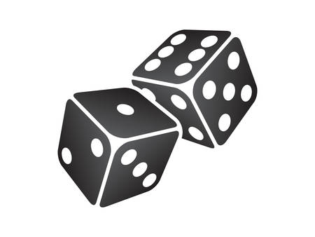 backgammon: Vector illustration of two black dice