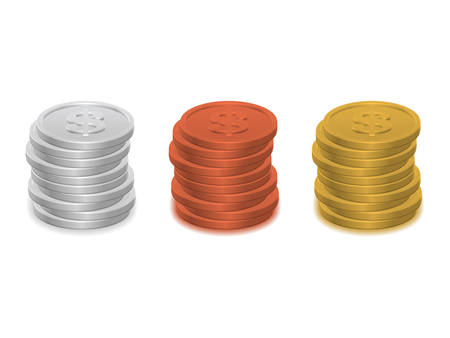 monet: Piles of coins isolated on white background