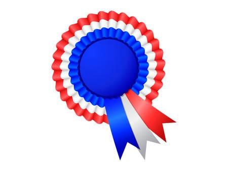 rosette: Tri-Color Rosette Ribbon on white background Illustration
