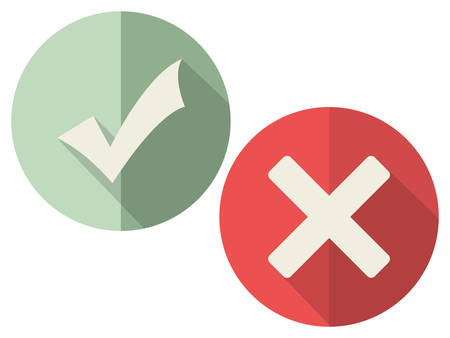 yes or no: Check mark icons (flat design with long shadows) Illustration