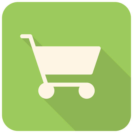 Shopping cart icon (flat design with long shadows) Vector