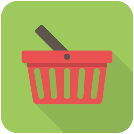 basket: Basket icon (flat design with long shadows)
