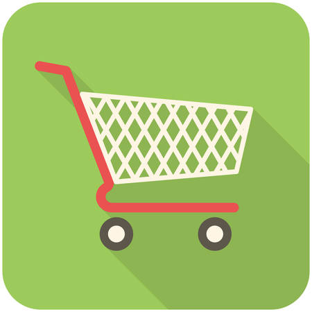 cart: Shopping cart icon (flat design with long shadows)