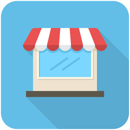 store front: Store icon (flat design with long shadows)