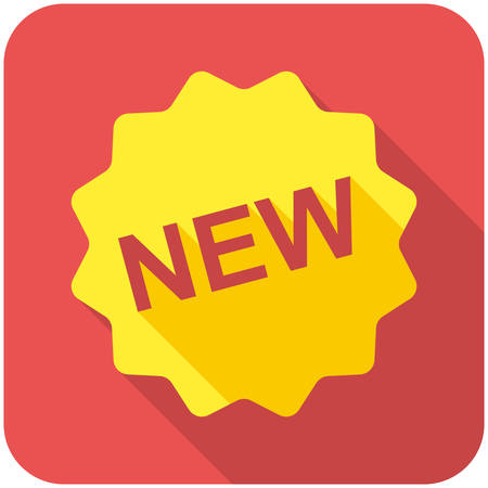 novelty: New icon (flat design with long shadows)