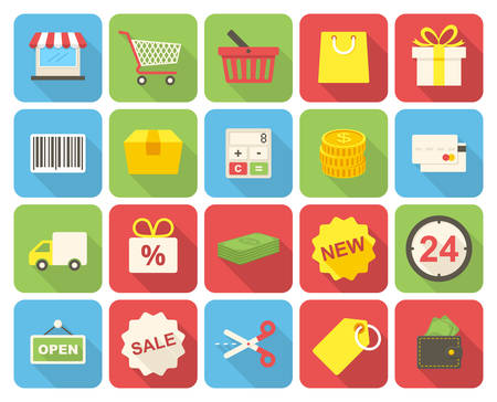 gift cart: Shopping icons set (flat design with long shadows) Illustration