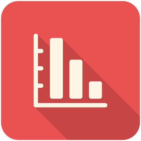 sales graph: Graph Down icon(flat design with long shadows) Illustration
