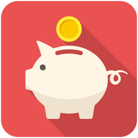money pig: Piggy bank icon (flat design with long shadows)